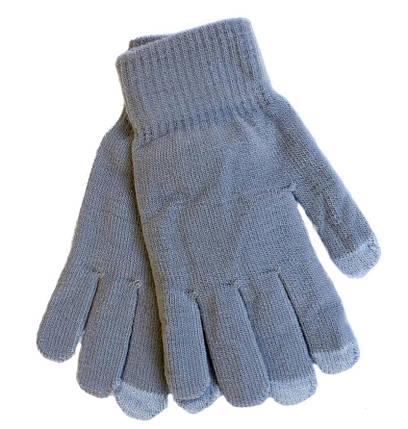 Эластичные женские сенсорные перчатки Осень/Зима серые 1280954576, фото 2