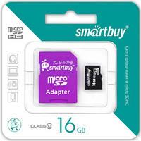 Карта пам'яті Smartbuy 16Gb micro SDHC (з адаптером)