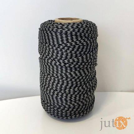 Шнур ПП (плетеный) 2,5 мм - 50 метров черно-серый, фото 2