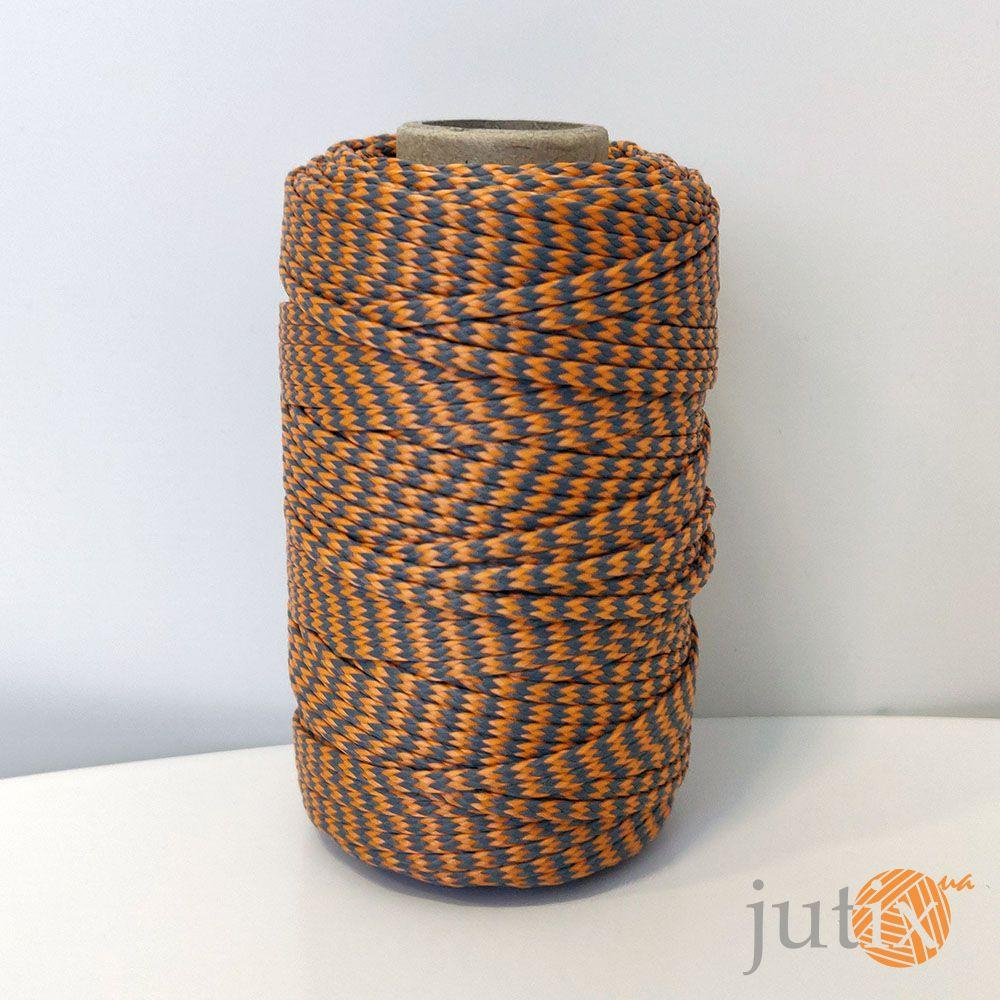 Шнур ПП (плетеный) 2,5 мм - 50 метров оранжево-серый