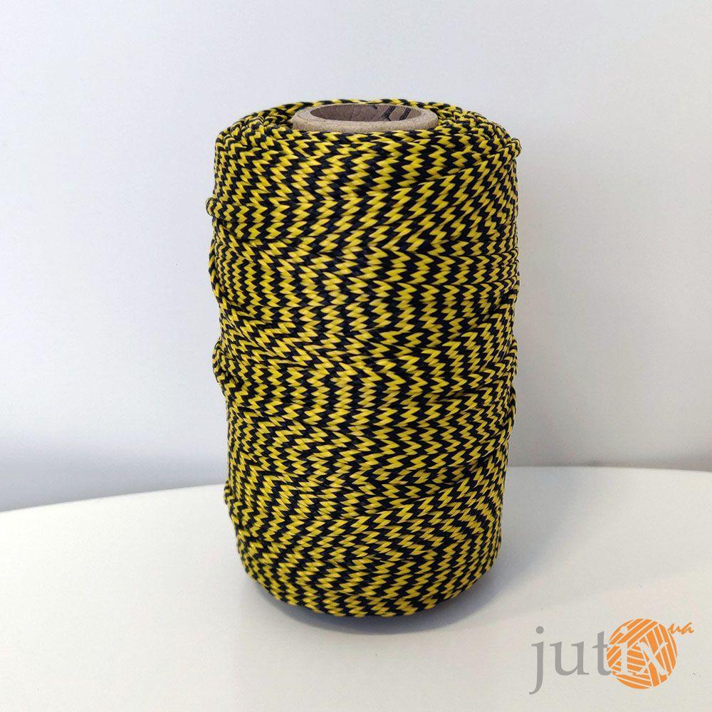 Шнур ПП (плетеный) 2,5 мм - 50 метров черно-желтый