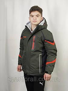 Спортивная зимняя куртка термо подростковая SNOW AKASAKA р.XLКМ-1055 (хаки)