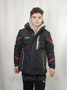 Спортивная зимняя куртка термо подростковая  SNOW AKASAKA р.L КМ-1055 (черно-зеленая)