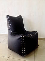 Кресло мешок черный Авиатор с высокой спинкой
