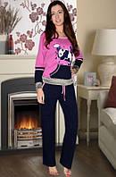 """Пижама на байке """"Панда"""" , темно розовый"""
