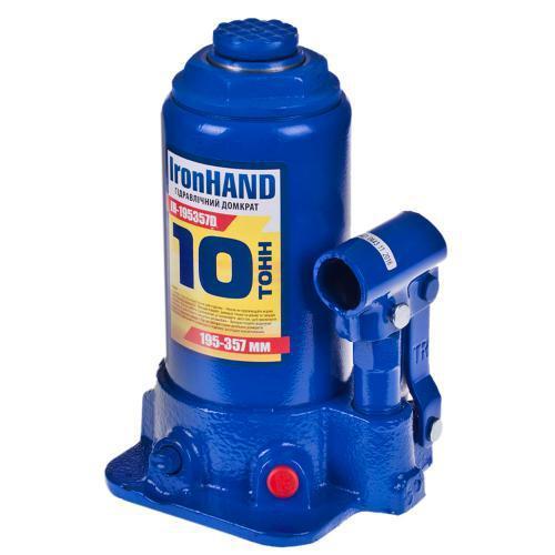 Домкрат гидравлический бутылочный VITOL Iron Hand, 10т, min 195 - max 375 мм