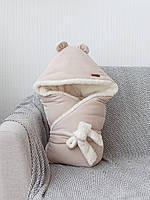 Велюровый конверт-одеяло на махре Velvet, бежевый