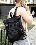 Мужской черный рюкзак ролл матовая эко кожа (качественный кожзам) городской, повседневный роллтоп, фото 4