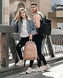 Мужской черный рюкзак ролл матовая эко кожа (качественный кожзам) городской, повседневный роллтоп, фото 5