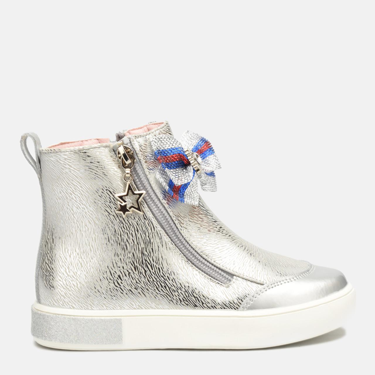 Ботинки для девочки Tom.M Серебристые на флисе b-435