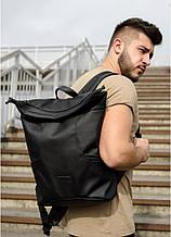 Мужской черный рюкзак роллтоп городской, для поездок, повседневный ролл эко-кожа (качественный кожзам)