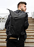 Мужской черный рюкзак роллтоп городской, для поездок, повседневный ролл эко-кожа (качественный кожзам), фото 3