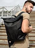 Мужской черный рюкзак роллтоп городской, для поездок, повседневный ролл эко-кожа (качественный кожзам), фото 9