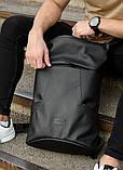 Мужской черный рюкзак роллтоп городской, для поездок, повседневный ролл эко-кожа (качественный кожзам), фото 10
