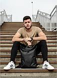 Мужской черный рюкзак роллтоп городской, для поездок, повседневный ролл эко-кожа (качественный кожзам), фото 2