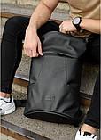 Мужской черный рюкзак роллтоп городской, для поездок, повседневный ролл эко-кожа (качественный кожзам), фото 4