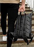 Мужской черный рюкзак роллтоп городской, для поездок, повседневный ролл эко-кожа (качественный кожзам), фото 5