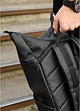 Мужской черный рюкзак роллтоп городской, для поездок, повседневный ролл эко-кожа (качественный кожзам), фото 6