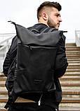 Мужской черный рюкзак роллтоп городской, для поездок, повседневный ролл эко-кожа (качественный кожзам), фото 8