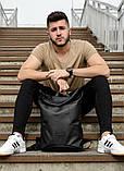 Мужской черный рюкзак роллтоп городской, для поездок, повседневный ролл эко-кожа (качественный кожзам), фото 7