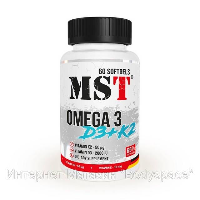 MST Sport Nutrition, Рыбий жир Omega 3 + D3 + K2 , 60 капсул