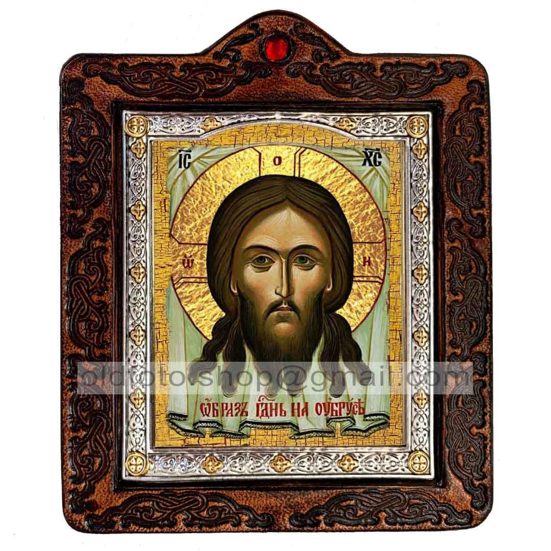 Икона Спаситель Нерукотворный Образ (на коже 80х100мм)