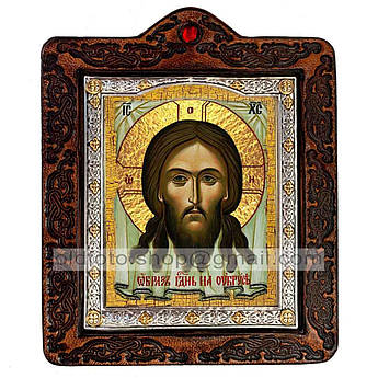 Икона Спаситель Нерукотворный Образ  ,икона на коже 80х100 мм