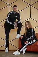 Спортивный костюм теплый Adidas Мужской свитшот штаны лампасы Флис LUX Реплика (Размер S) Black