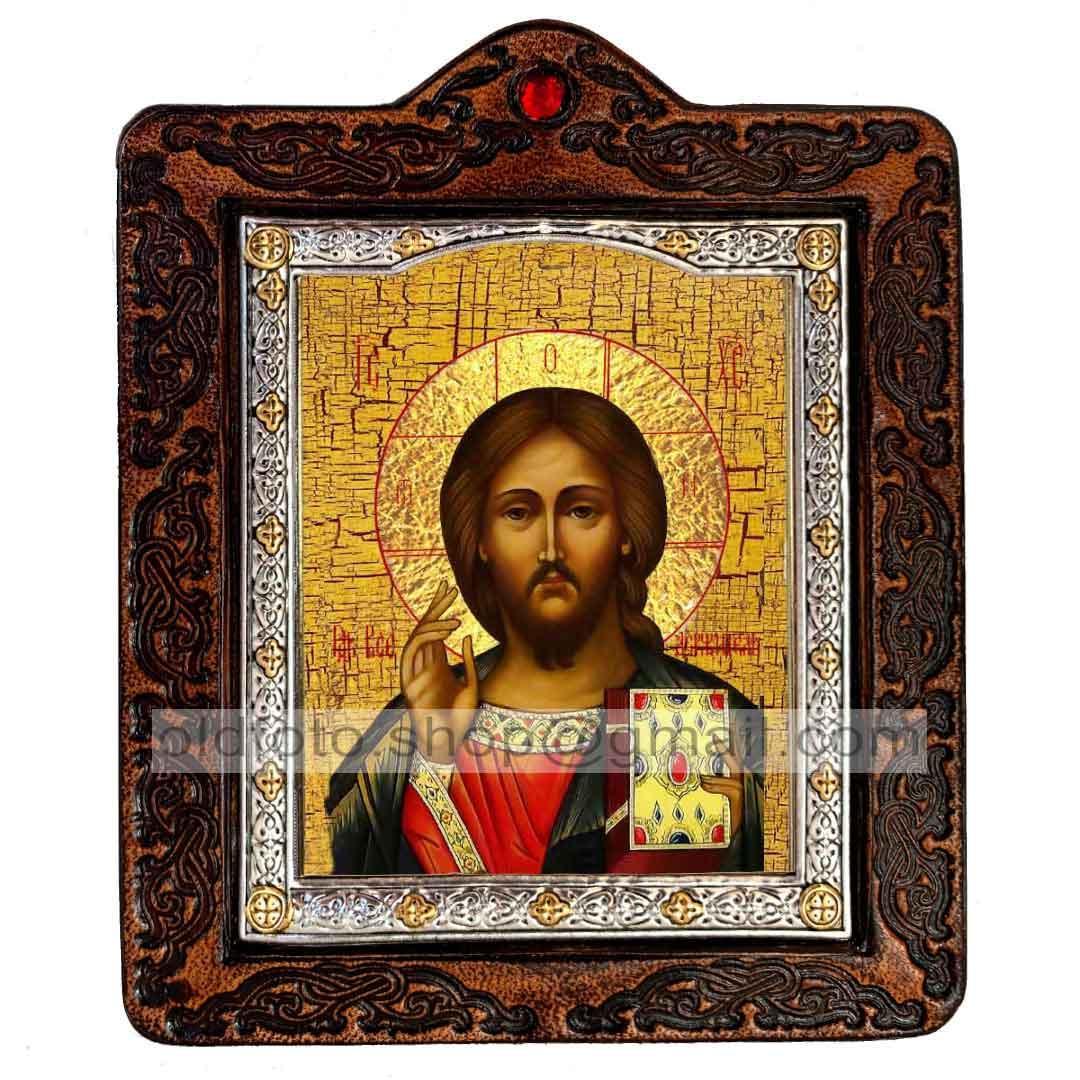 Икона Спаситель Господь Вседержитель (на коже 80х100мм)