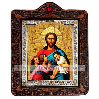 Икона Благословение детей Спаситель, Господь Вседержитель  ,икона на коже 80х100 мм