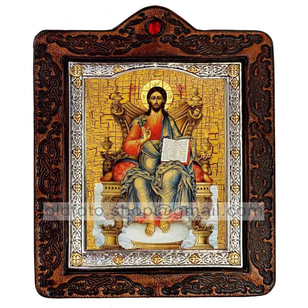 Ікона Спаситель Господь Вседержитель на престолі (на шкірі 80х100мм)