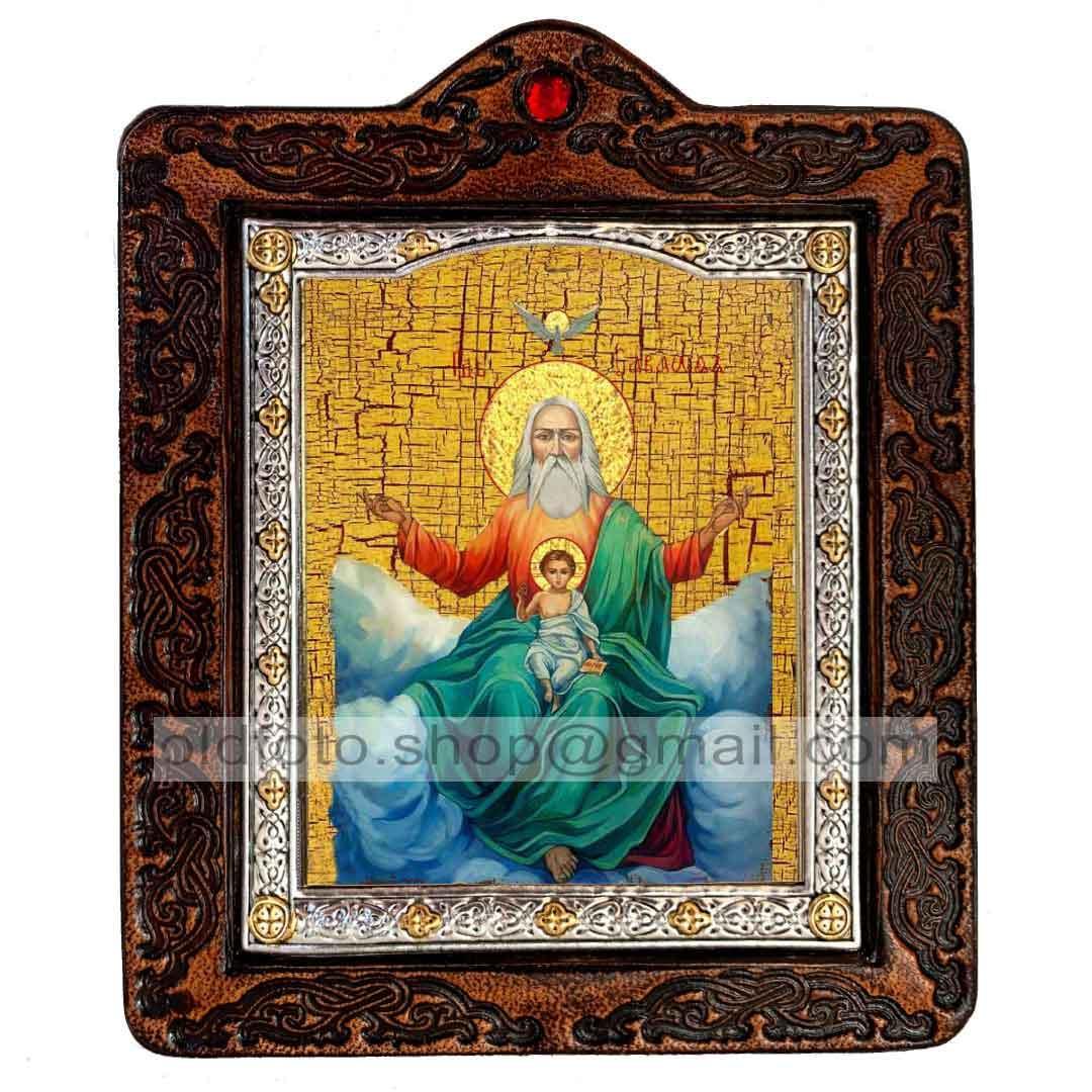 Икона Господь Саваоф (на коже 80х100мм)