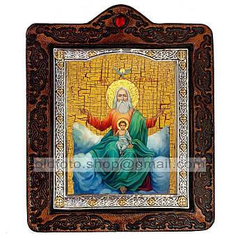 Икона Господь Саваоф  ,икона на коже 80х100 мм