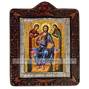 Икона Деисус (Деисис,  Деисусный чин, Спаситель Господь, Вседержитель)  ,икона на коже 80х100 мм