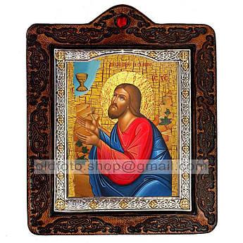 Икона Моление О Чаше Спаситель, Господь Вседержитель  ,икона на коже 80х100 мм