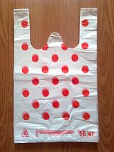 """Пакет майка """"Горошек"""" 30*47 см полиэтиленовый упаковочный белый, полиэтиленовые пакеты белые купить с печатью"""