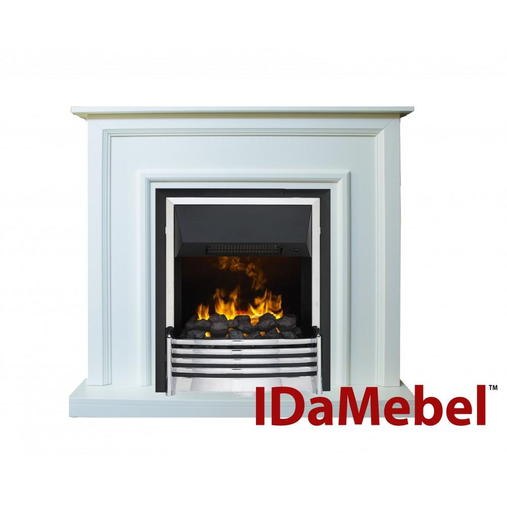 Каминокомплект IDaMebel Adele Белый Flagstaff эффект 3D пламени и дыма с увлажнением