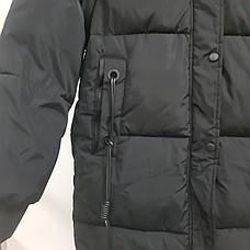 Куртка длинная чёрная - 215-01-3, фото 2
