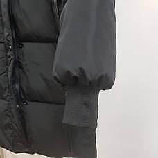 Куртка длинная чёрная - 215-01-3, фото 3