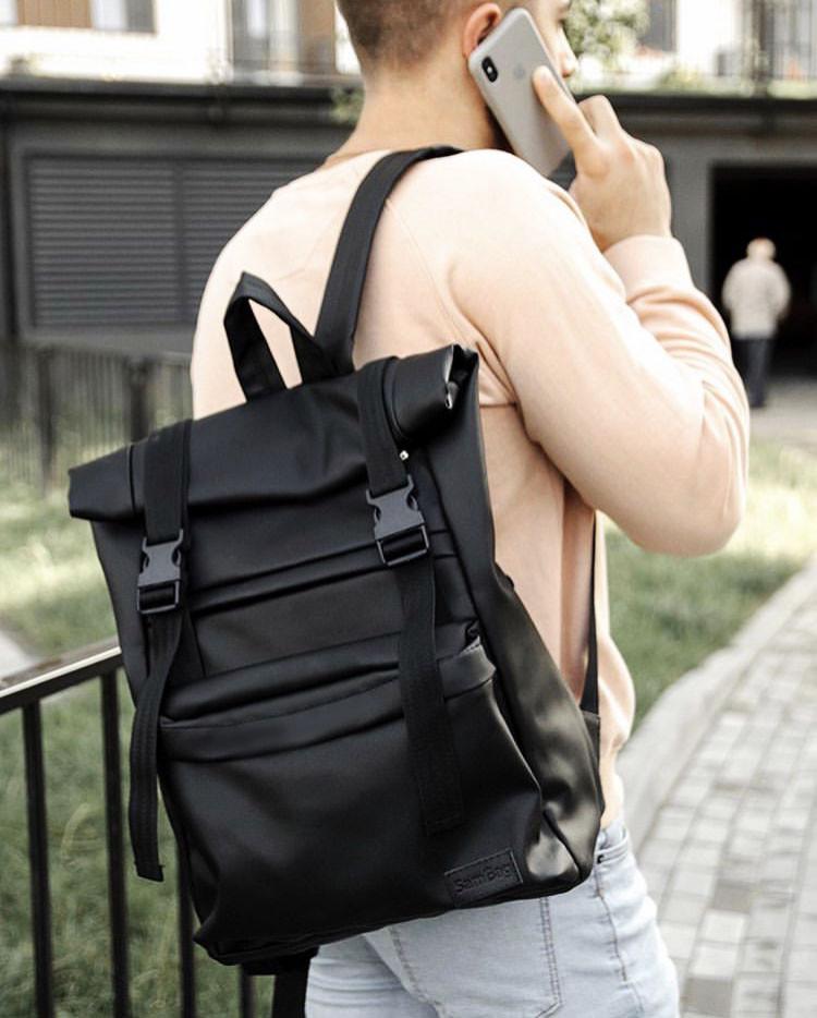 Черный мужской рюкзак ролл повседневный, городской, для поездок роллтоп из экокожи