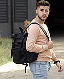 Черный мужской рюкзак ролл повседневный, городской, для поездок роллтоп из экокожи, фото 2