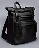Черный мужской рюкзак ролл повседневный, городской, для поездок роллтоп из экокожи, фото 10