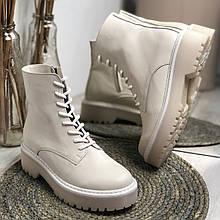 Женские кожаные ботинки светло-бежевого цвета Возможен отшив в других цветах кожи и замши