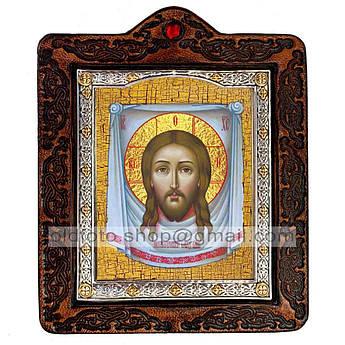 Икона Нерукотворный Образ Спаситель, Господь Вседержитель  ,икона на коже 80х100 мм
