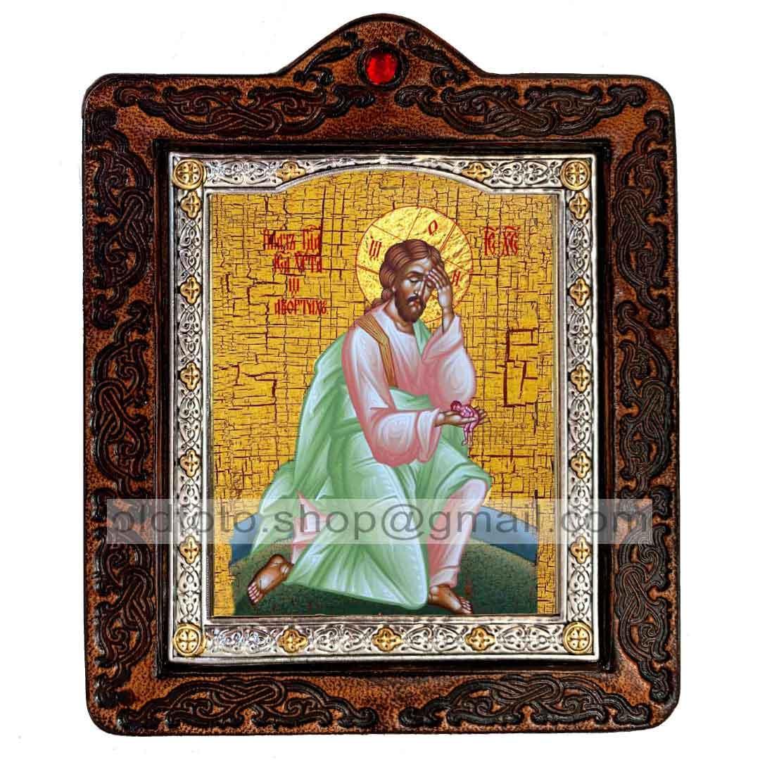 """Икона Плач Иисуса Христа об убиенных младенцах """"Спаситель, Господь Вседержитель"""" (на коже 80х100мм)"""