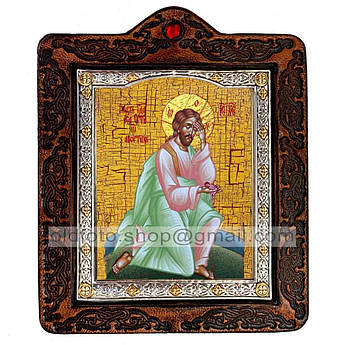 Икона Плач Иисуса Христа об убиенных младенцах Спаситель, Господь Вседержитель  ,икона на коже 80х100 мм