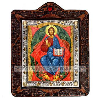 Икона Спас в Силах Спаситель, Господь Вседержитель  ,икона на коже 80х100 мм