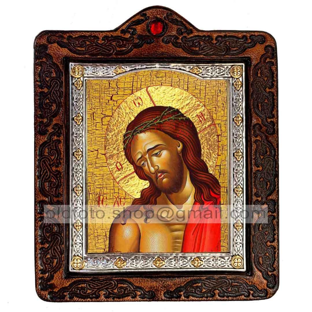 Икона Спаситель в Терновом Венце (на коже 80х100мм)