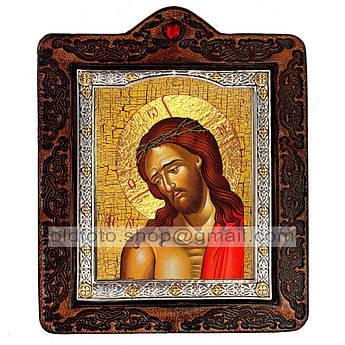 Икона Спаситель в Терновом Венце  ,икона на коже 80х100 мм