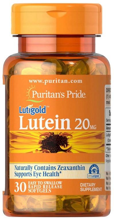 Здоровье глаз Puritan's Pride - Lutein 20 мг (30 капсул)